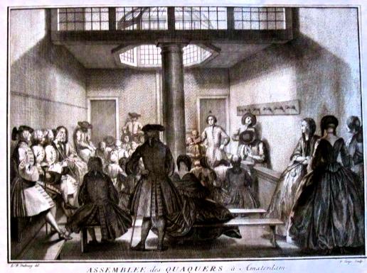 Réunion de quakers à Amsterdam - gravure de Picart