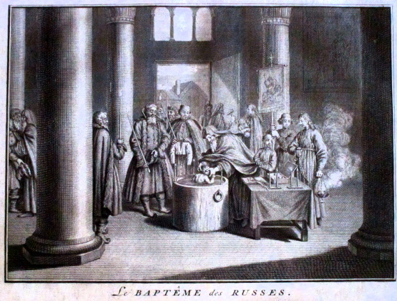 Le baptême des russes - gravure de Picart