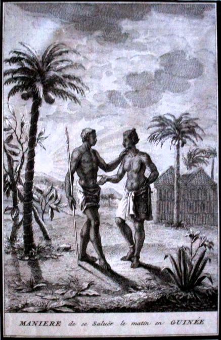 Salutation matinale en Guinée - gravure de Picart