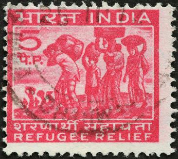 Timbre-poste indien pour l'aide aux réfugiés