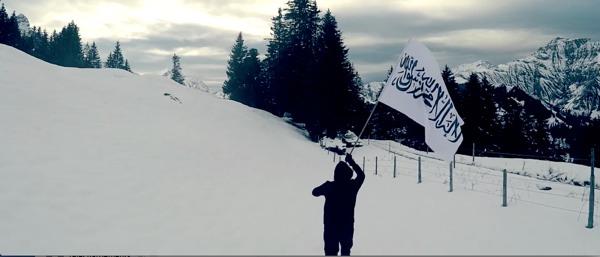 Bannière islamique dans les montagnes suisse (video du CCIS)