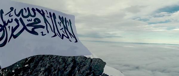 Drapeau islamique au-desus de montagnes (video du CCIS)