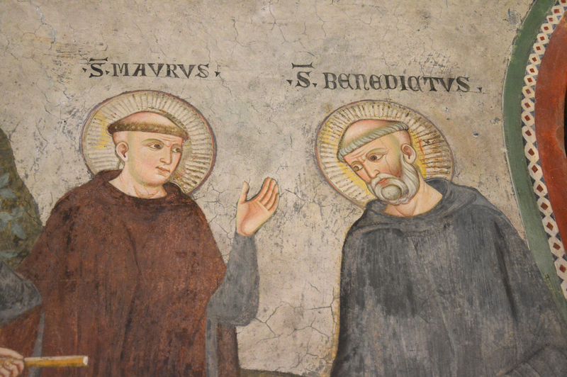 Saint Benoît en discussion avec son disciple saint Maur - fresque du monastère de Subiaco (© 2015 Steven Langford | Dreamstime.com).