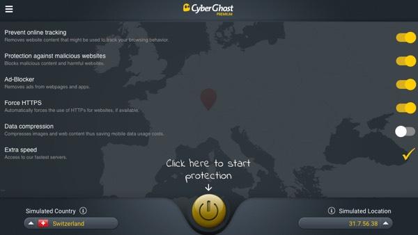 L'interface de CyberGhost sur ordinateur.