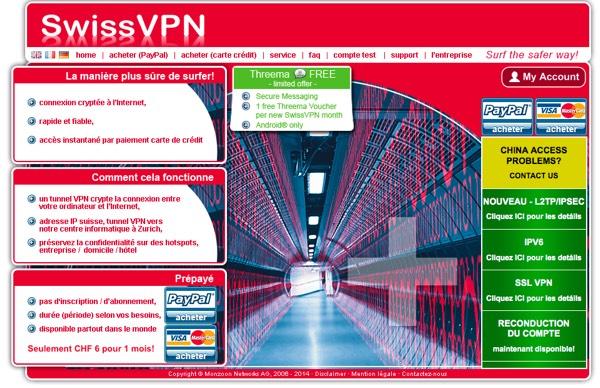 Le site de SwissVPN